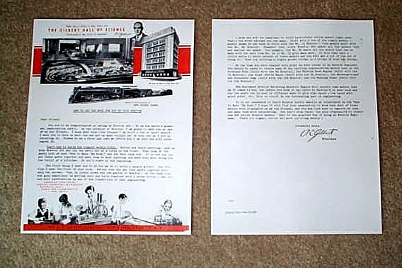 1949 American Flyer Hall Of Science Letter (M2663). Mint Condition.