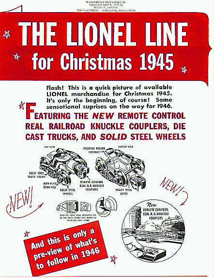 1945 Lionel Christmas Catalog (Reprint) Mint Condition