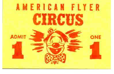 American Flyer Circus Tickets. Mint Condition. Lot Of 10