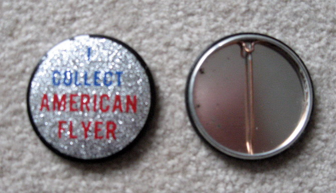 American Flyer Collector Reflector Button. Mint Condition. Repro.