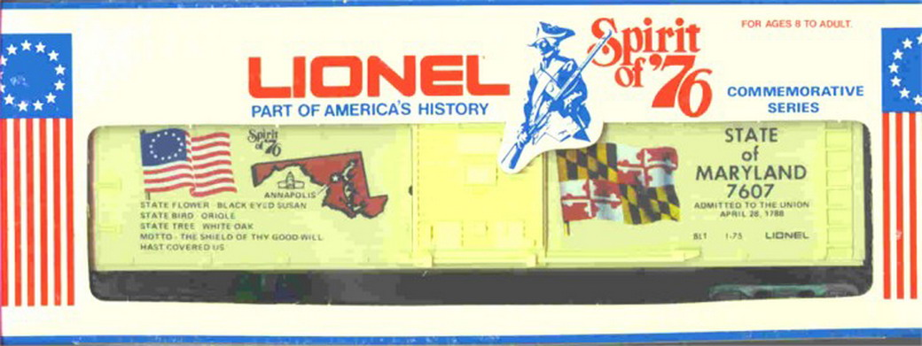 Lionel 7607 Maryland Spirit of '76 Box Car. Mint Condition.
